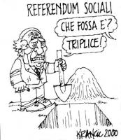 """VIGNETTA Titolo: """"Referendum sociali"""". Una voce fuori campo: """"Che fossa è?"""". Pannella (ai piedi della fossa, zappa in mano): """"Triplice"""". La vignetta d"""