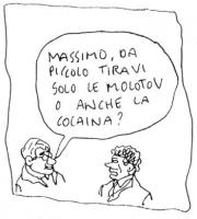 """VIGNETTA Un tizio chiede a Massimo D'Alema: """"Massimo, da piccolo tiravi solo le molotov o anche la cocaina?"""". La vignetta di Vincino, inedita, fa part"""