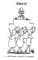 """Alcune donne incinte sfilano davanti a Pannella, seduto su uno scranno da giudice, esclamando: """"Ave Caesar, morituri te salutant"""". Vignetta di Giovann"""