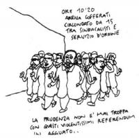 """VIGNETTA """"Ore 10'20 - Arriva Cofferati circondato da 15 sindacalisti e servizio d'ordine. La prudenza non è mai troppa con questi violentissimi refere"""