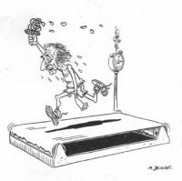 VIGNETTA Marco Pannella, corre stremato, levando alta nel pugno, in luogo della fiaccola olimpionica, la rosa del simbolo radicale. La vignetta di De