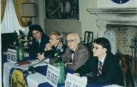 Presentazione della lista Bonino nelle Marche per le elezioni regionali, presso l'Hotel Palace di Ancona. Nella foto, da sinistra: Marco Cappato, Emma