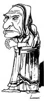 """Marco Pannella veste i panni di Madre Teresa di Calcutta.  La vignetta (uscita sull'""""Europeo""""), firmata da Enzo Lunari è apparsa nel contesto di un ar"""