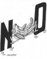 VIGNETTA Pannella - corpo interamente ingessato - viene trasportato su una barella alle cui estremità si trovano le lettere N O. La vignetta di Marcan