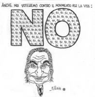 """VIGNETTA In primo piano il volto di Pannella. Sopra di lui, la scritta: """"Anche noi voteremo contro il movimento per la vita: NO"""". Ma la scritta NO è r"""