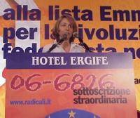 Assemblea dei radicali in vista della presentazione alle regionali delle liste radicali Emma Bonino. Alla tribuna: Elisabetta Zamparutti.