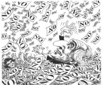 """VIGNETTA Marco Pannella e Adelaide Aglietta seppelliti da una valanga di schede """"No"""". La vignetta di Franco Bruna, apparsa su """"La discussione"""", si rif"""