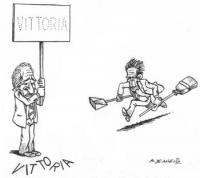 """VIGNETTA Marco Pannella inalbera il cartello: """"Vittoria"""". Ma la scritta cade in terra, ed Enrico Berlinguer accorre a spazzarla via. La vignetta di De"""