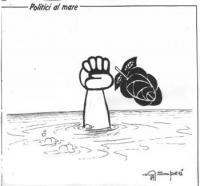 """VIGNETTA Titolo: """"Politici al mare"""". Il pugno del simbolo radicale naufraga, lasciando cadere la rosa. La vignetta, uscita su """"La Nazione"""", si riferis"""