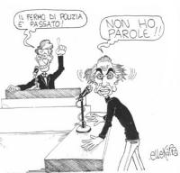 """VIGNETTA Arnaldo Forlani, alla Camera, proclama: """"Il fermo di polizia è passato!"""". Pannella, al microfono, sbigottito: """"Non ho parole!!"""". Vignetta fir"""