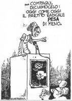 """VIGNETTA Pannella, ischeletrito da un digiuno, alla tribuna: """"...Compagni, diciamocelo: oggi come oggi il Partito Radicale pesa di meno"""". La vignetta,"""