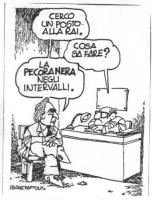 """VIGNETTA Pannella, a un dirigente RAI: """"Cerco un posto alla Rai"""". Il dirigente: """"Cosa sa fare?"""". Pannella: """"La pecora nera negli intervalli"""". Vignetta"""