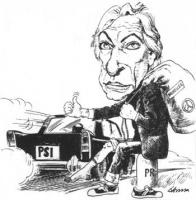 """VIGNETTA Pannella chiede un passaggio per Bruxelles a una macchina targata Psi. La vignetta firmata D'Anna, uscita su """"Il lavoro"""", si riferisce a una"""