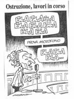 """VIGNETTA Pannella, al microfono, dal seggio parlamentare: """"Bla bla bla bla bla bla prova microfono bla bla bla bla bla bla"""". La vignetta firmata Origo"""