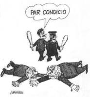 VIGNETTA Marco Pannella e Silvio Berlusconi, incerottati, stramazzano  in terra. Si allontanano, Massimo D'Alema e un giudice togato, entrambi con un