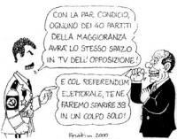"""VIGNETTA D'Alema: """"Con la par condicio, ognuno dei 40 partiti della maggioranza avrà lo stesso spazio in tv dell'opposizione"""".  Berlusconi (facendo il"""