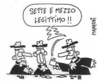 """VIGNETTA Uno dei giudici della Corte Costituzionale, scoprendo le proprie carte da gioco, esclama: """"Sette e mezzo legittimo!!"""". La vignetta, firmata M"""