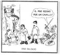 VIGNETTA Il sottosegretario alle comunicazioni Vincenzo Vita e Massimo D'Alema, che reca nelle mani falce e martello, sventrano il cavallo che è simbo