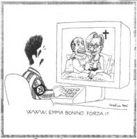 VIGNETTA Massimo D'Alema, collegato a Internet, osserva sbigottito sullo schermo del proprio computer Silvio Berlusconi ed Emma Bonino, a letto insiem