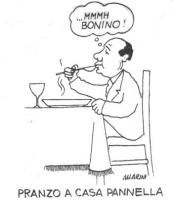 """VIGNETTA Silvio Berlusconi, seduto a tavola, degustando una pietanza, esclama: """"...Mmmh Bonino!"""". Titolo in calce: """"Pranzo a casa Pannella"""". La vignet"""