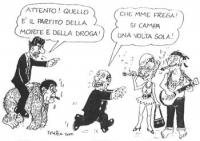 VIGNETTA Silvio Berlusconi fugge in direzione di Emma Bonino (in veste di prostituta), e Marco Pannella (in vesti di un hippy, fumatore di spinelli).