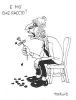 """VIGNETTA Marco Pannella tiene in mano lo stelo di una rosa che ha perso tutti i petali. Si chiede: """"E mo' che faccio?"""". Vignetta di Forattini, apparsa"""