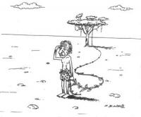 VIGNETTA Pannella, acconciato come Tarzan, tiene una liana in mano in un paesaggio semidesertico. La vignetta firmata De Angelis, appare sul quotidian