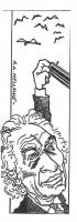"""VIGNETTA Marco Pannella ottura con un dito la canna di un fucile puntata contro uccelli in volo. Vignetta firmata Mellone, uscita sul quotidiano """"Il G"""