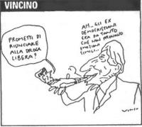 """VIGNETTA Pannella fuma - come fosse  uno spinello- l'onorevole Casini, che protesta: """"Prometti di rinunciare alla droga libera?"""". E Pannella: """"Ah...gl"""