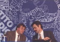 Franco Corleone (Verdi) e Willer Bordon (PDS) parlano ad un consiglio federele del PR. Dietro logo, parziale del PR