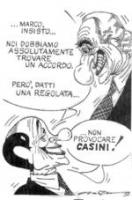 """VIGNETTA Berlusconi a un Pannella ghignante: """"Marco, insisto, noi dobbiamo assolutamente trovare un accordo. Però datti una regolata. Non provocare CA"""