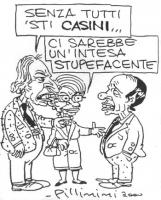 """VIGNETTA Pannella e la Bonino si rivolgono a Berlusconi. Pannella: """"Senza tutti sti CASINI..."""". La Bonino: """"Ci sarebbe un'intesa stupefacente"""". La vig"""