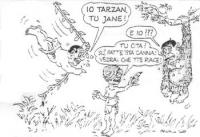 """VIGNETTA Berlusconi, appeso a una liana, si rivolge a Emma Bonino: """"Io Tarzan, tu Jane"""". Lo scimpanzè  Buttiglione protesta: """"E io???"""". E la Bonino: """""""