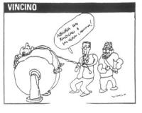 """VIGNETTA Gianfranco Fini sottopone Berlusconi al supplizio della ruota. Fini: """"Abiura dai radicali e salverai l'anima!"""". La vignetta di Vincino appars"""