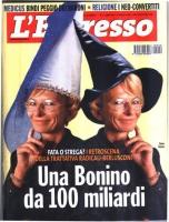 """Copertina dell'""""Espresso"""", con due immagini di Emma Bonino a confronto. In una calza un cappello da fata, nell'altra da strega. Titolo: """"Una Bonino da"""