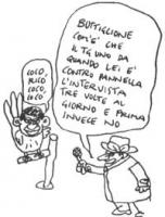 """VIGNETTA Buttiglione è un pappagallo che litania: """"Coco rico coco coco"""". Un intervistatore: """"Buttiglione, com'è che il Tg 1 da quando lei è contro Pan"""