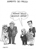 """VIGNETTA Titolo: """"Aumento dei prezzi"""". Da un lato, Marco Pannella ed Emma Bonino vestita da sposa; dall'altro, Berlusconi e Fini. Berlusconi (rivolgen"""