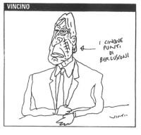 """VIGNETTA Marco Pannella reca sulla guancia una vistosa cicatrice, così segnalata: """"I cinque punti di Berlusconi"""". La vignetta di Vincino, uscita sul """""""