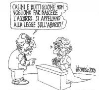 """VIGNETTA Marco Pannella si rivolge ad Emma Bonino, vestita con l'abito da sposa. Pannella: """"Casini e Buttiglione non vogliono far nascere l'accordo. S"""
