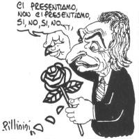 """VIGNETTA Marco Pannella sfoglia la rosa del simbolo radicale: """"Ci presentiamo, non ci presentiamo, sì, no, sì, no..."""". Vignetta firmata Pillinini, app"""