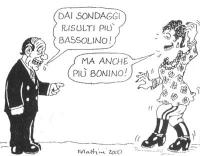 """VIGNETTA Berlusconi a D'Alema: """"Dai sondaggi risulti più bassolino!"""". D'Alema (en travesti): """"Ma anche più bonino!"""". La vignetta di Forattini, apparsa"""