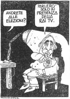 """VIGNETTA Voce fuori campo: """"Andrete alle elezioni?"""". Marco Pannella: """"Parlerò solo in presenza della rai tv"""". La vignetta, firmata Passepartout, uscit"""
