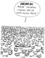 """VIGNETTA Marco Pannella è seduto in posa di fachiro, fra una moltitudine di tazze da cappuccino. Pannella: """"Decido Dc perchè malgrado i digiuni non ho"""