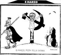 VIGNETTA Emma Bonino crocifissa su falce e martello, dal centurione romano Marco Pannella. Accanto a lei, in ginocchia, si addolora la Madonna-Berlusc