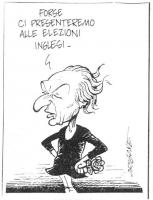 """VIGNETTA Marco Pannella, dolcevita nera e rosa nel pugno, esclama: """"Forse ci presenteremo alle elezioni inglesi"""". Vignetta firmata Origone, apparsa su"""