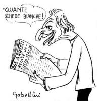 """VIGNETTA Marco Pannella legge un giornale, il cui titolo in prima pagina è: """"865 arresti - retate in tutta Italia"""". Commenta: """"Quante schede bianche!"""""""