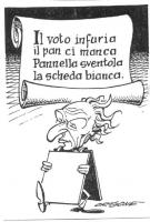 """VIGNETTA Marco Pannella con un quadro bianco in mano, di fronte a un drappo su cui si legge: """"Il voto infuria  il pan ci manca  Pannella sventola  la"""