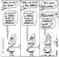 """VIGNETTA Dialogo fra una voce off e Marco Pannella. La vignetta di Angese, uscita su """"L'Espresso"""", commenta la notizia della fuga dall'Italia di Toni"""