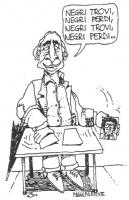 """VIGNETTA Marco Pannella si esibisce nel gioco delle tre carte: """"Negri trovi, Negri perdi, Negri trovi, Negri perdi..."""". Vignetta firmata Passepartout,"""