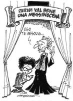 """VIGNETTA Festone: """"Parigi val bene una messinscena"""". Marco Pannella nei panni di un prete, benedice Toni Negri: """"Ego te absolvo..."""". Vignetta firmata"""
